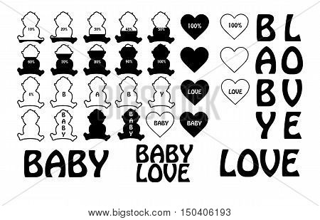 Baby icon progess white and black with heart