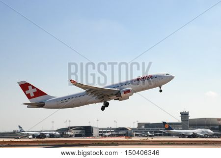 Hb-iqc Swiss Airbus A330-223 Take Off From Ben-gurion Airport. Israel