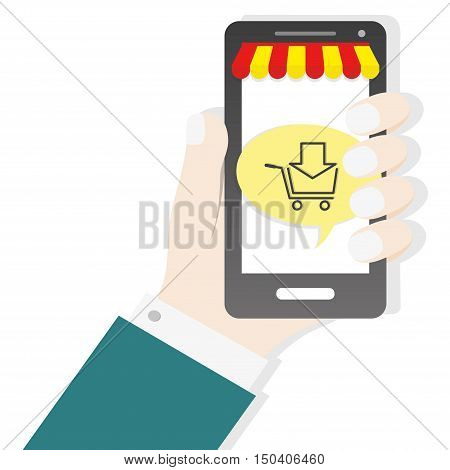 Hand holding smartphone with cart icon commerce shop concept bussines background