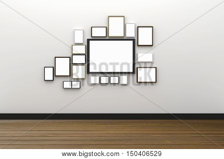3D Rendering : illustration of many size of blank photo frame hanging on white wall interior with wooden floor,clipping path inside frame included for your image advertising