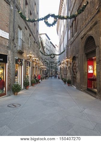 SIENA ITALY - CIRCA DECEMBER 2014: view of the city centre with shops