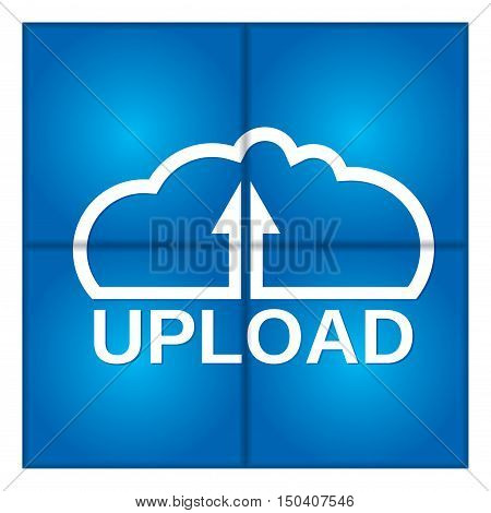 Cloud computing - communication concept with Upload icon.