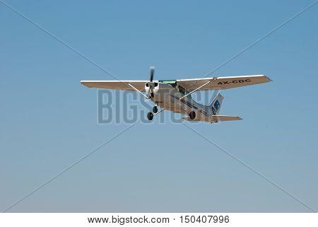 Cessna 172P Skyhawk Ii Aiplane In Sde-teyman Airport. Beer-sheva. Israel