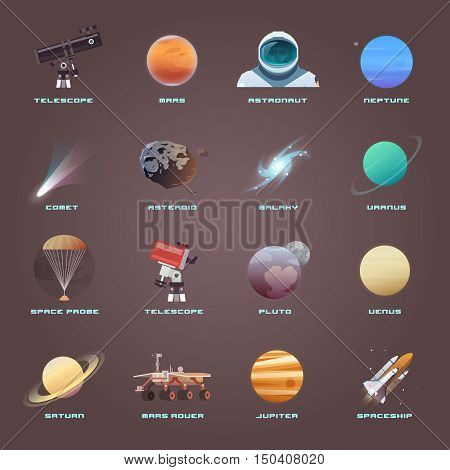 Vector flat icons on the theme: astronomy, space flight, space exploration, colonization, space technology. The web banner. Space icons.