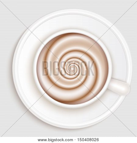 Top view of realistic white coffee cup on white saucer. Cappuccino full cup hot chocolate coffee and cream high milk foam. Coffee cup top view vector illustration.