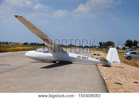 Glider Schleicher K7  In Sde-teyman Airport. Beer-sheva. Israel