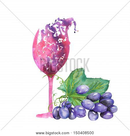 Image of the isolated watercolor abstract glass of red wine and bunch of blue grapes. Painted hand-drawn in a watercolor on a white background.