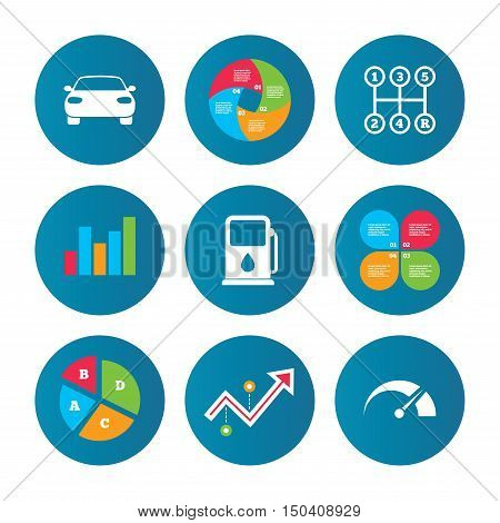 Business pie chart. Growth curve. Presentation buttons. Transport icons. Car tachometer and manual transmission symbols. Petrol or Gas station sign. Data analysis. Vector