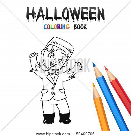 Cheerful Boy in Halloween Costume Frankenstein. Halloween Coloring Book. Illustration for children vector cartoon character isolated on white background.