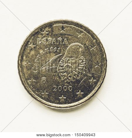 Vintage Spanish 50 Cent Coin
