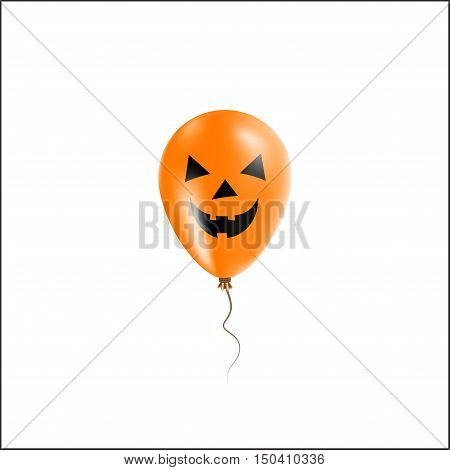 Halloween Balloon Greeting Card. Black And Orange Colored All Saints Day Poster. Vector Illustration