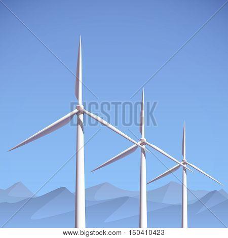 Wind power plant. Vector illustration eps 10.