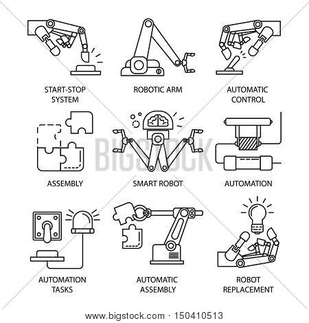 Isolated black assembly line icon set with smart robot automatic control automation tasks descriptions vector illustration
