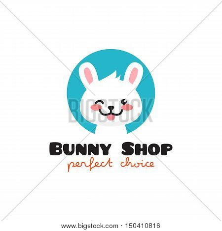 Vector cartoon rabbit logo. Cute mascot bunny symbol