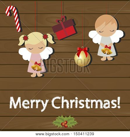 Christmas cute baby card. Template for decoration and Christmas wishes. Baby Christmas vector illustration. Christmas baby background