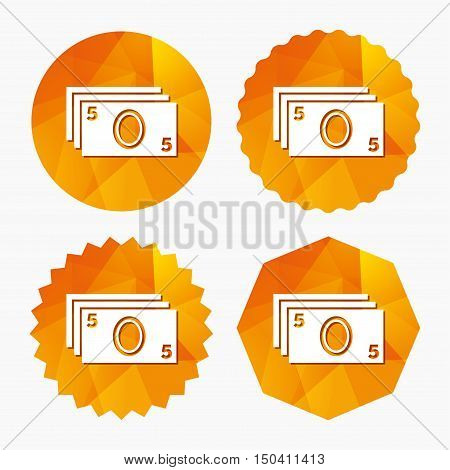 Cash sign icon. Paper money symbol. For cash machines or ATM. Triangular low poly buttons with flat icon. Vector