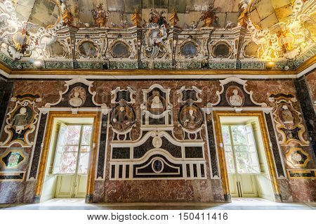BAGHERIA, ITALY - SEPTEMBER 10, 2015: Interior of the Villa Palagonia is a patrician villa in Bagheria near Palermo in Sicily, southern Italy.