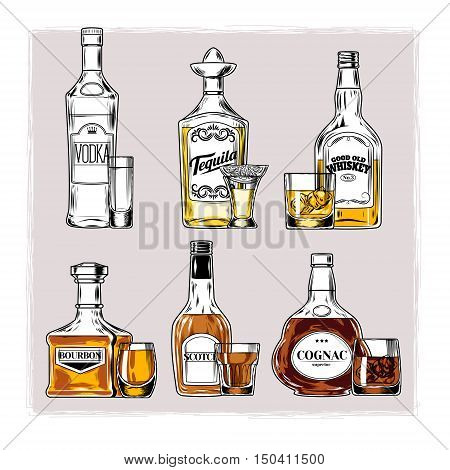 Vector set of bottles with alcohol and stemware, engraving