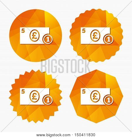 Cash sign icon. Pound Money symbol. GBP Coin and paper money. Triangular low poly buttons with flat icon. Vector