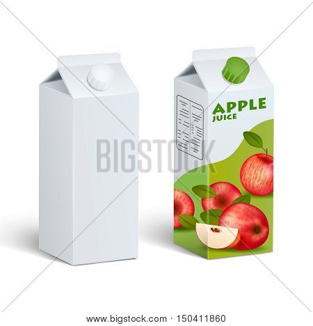 Realistic isolated images of two similar tetra pak carton boxes clean and with apple juice label with shadows on blank background vector illustration