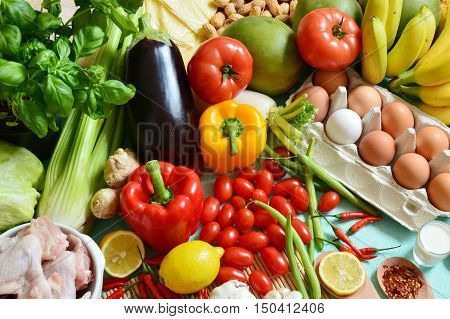 The 5 food group, various fruits and vegetables