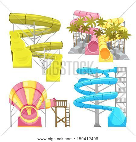 Images set of aquapark equipments colorful water slides and tubes flat isolated vector illustration