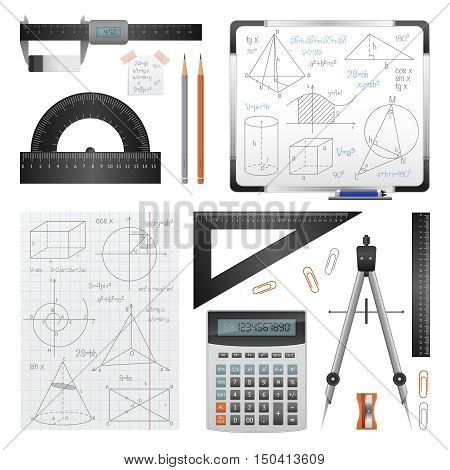 Science images set of mathematical and trigonometric stationery special instruments and solving records isolated vector illustration