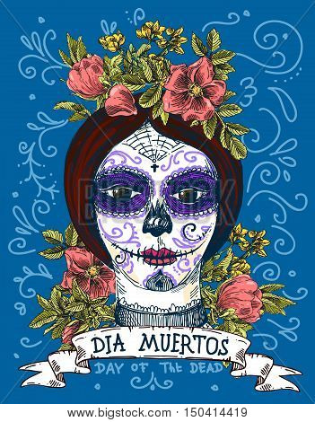 Dia muertos. Illustration for mexican day of the dead. Girl with make up of sugar skull.