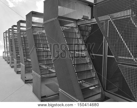 Low angle view on steel stairs in black and white