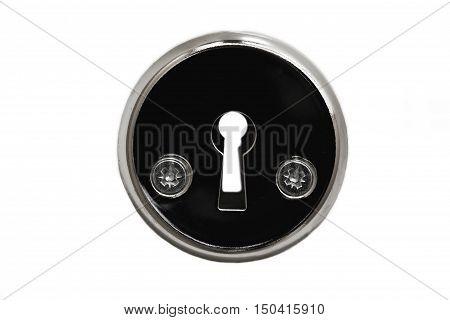 Keyhole close-up on a white background. Keyhole isolated