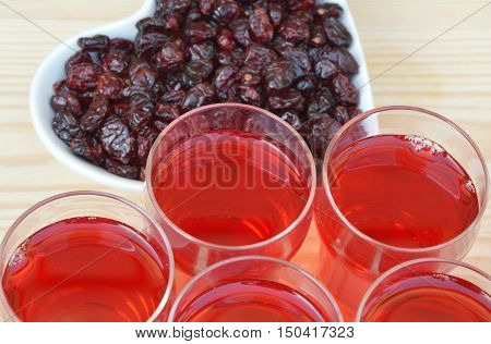 Cranberry juice and dried cranberries  (soft focus,lens blur)