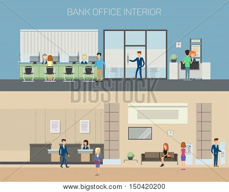 Bank office interior with consultants at reception with computers and clients sitting on couch and chairs, people using cash dispenser. Great for financial and credit, banking and consulting theme