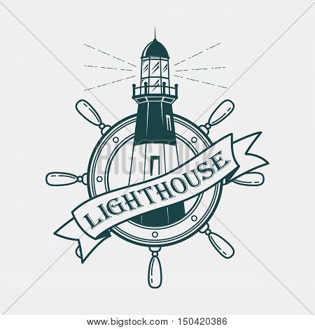 Lighthouse building with ships or boats wheel for helmsman or sailor. Sketch logotype of beacon with lamp with ribbon and lighthouse text on it. Great for nautical badge and marine banner
