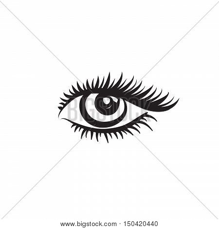 Eye logo. Vector eye design in minimalistic graphic style. Label with eye. Beautiful eye. Cute eye.