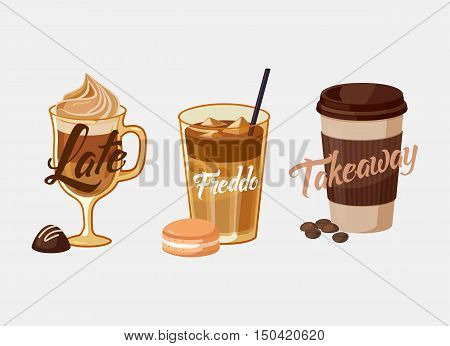 Iced coffee latte or mocha with chocolate and freddo in kyoto style with cake, greek frappe. Coffee plastic cup sleeve with bean or grain with takeaway text. For coffeeshop banner and restaurant logo poster