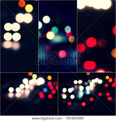 Bokeh and flare of blured background night scene set of images. Night blurred lights collage.