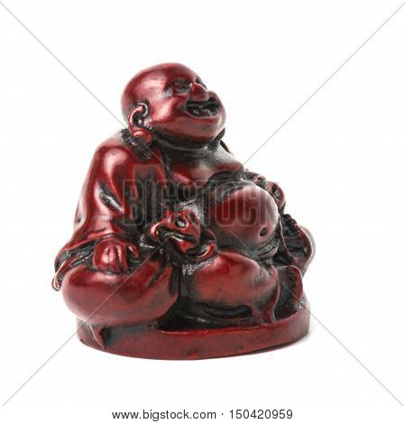 Netsuke happy fat man with a bag and a rosary. Isolated. A miniature sculpture which was used as a button-like trinket in traditional Japanese clothes kimono kosode which was devoid of pockets.