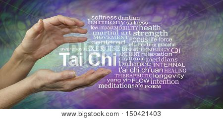Tai Chi Benefits Word Cloud - female hands cupped around the words TAI CHI surrounded by a relevant word cloud on a purple and jade green patterned background