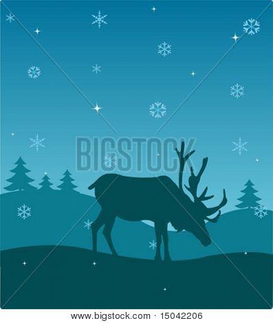 Winter night. Nature. Deer. Vector illustration