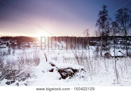 Winter sunny sunrise landscape with trees and small swedish town, north scandinavian seasonal hipster background.