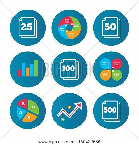 Business pie chart. Growth curve. Presentation buttons. In pack sheets icons. Quantity per package symbols. 25, 50, 100 and 500 paper units in the pack signs. Data analysis. Vector