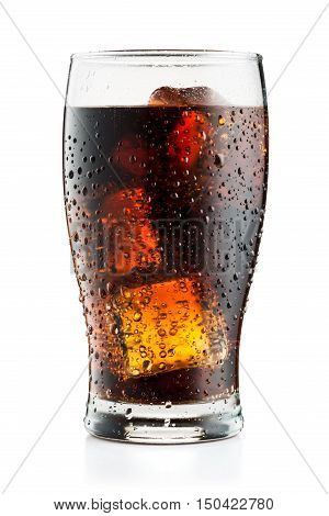 Cola Glass With Ice Cubes And Droplets