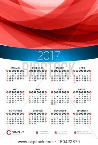 Wall Calendar Poster For 2017 Year. Vector Design Print Template. Stationery Design. Vector Calendar