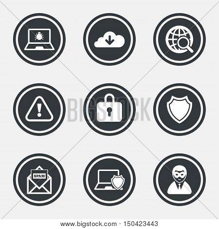 Internet privacy icons. Cyber crime signs. Virus, spam e-mail and anonymous user symbols. Circle flat buttons with icons and border. Vector