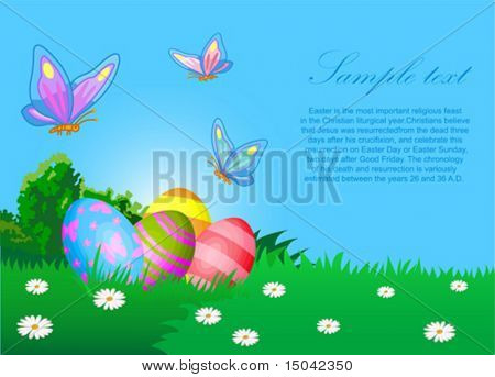 The vector illustration contains the image of Easter eggs and butterflies