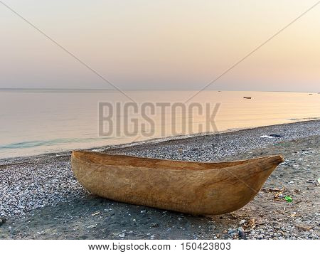 dug out longboat at the beach of lake Malawi in Tanzania
