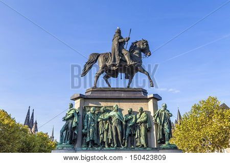 Monument In Center Of Cologne Of Kaiser Freidrich Wilhelm At Heumarkt