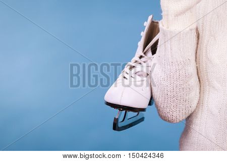 Woman With Ice Skates Getting Ready For Ice Skating