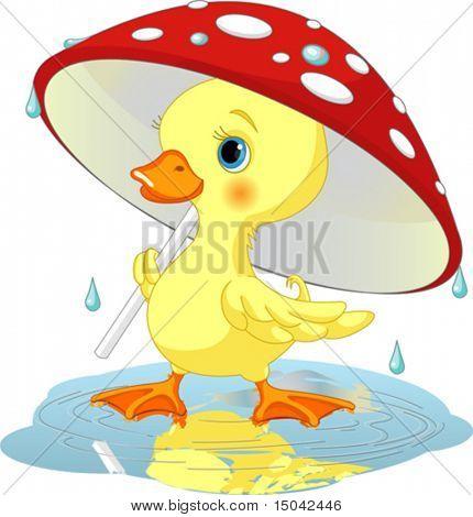 Cute duckling  wearing rain gear under  mushroom umbrella