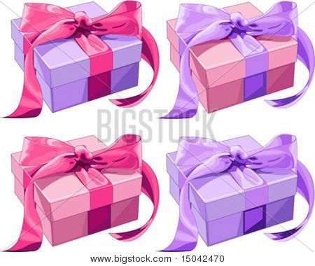 Four different color Gift boxes with  bow. Vector illustration